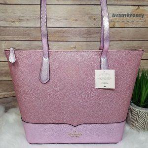 Kate Spade Rose Pink Lola Glitter Tote Bag